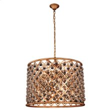 """Madison Collection Chandelier D:27.5"""" H:21"""" Lt:8 Golden Iron Finish Royal Cut Crystal (Clear)"""