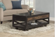 Bridgewater Coffee Table With Casters - Rubbed Black Wood