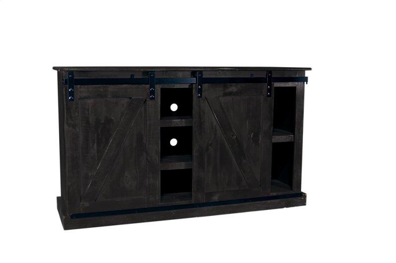 Barn Door Black Plasma TV Stand