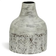 White Washed  10in x 8in Decorative Floral Metal Vase