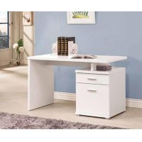 Contemporary White Executive Desk Product Image