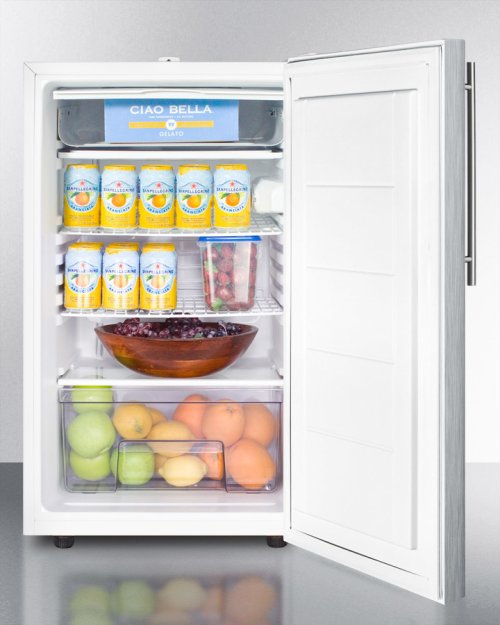 "Commercially Listed 20"" Wide Counter Height Refrigerator-freezer With A Lock, Stainless Steel Door, Thin Handle and White Cabinet"