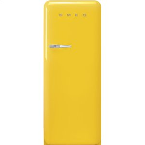 Smeg'50s Style fridge with ice compartment, Yellow, Right-hand hinge, 24'' in-width