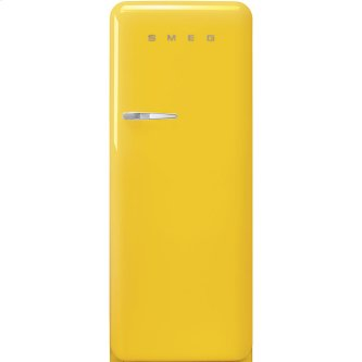 '50s Style fridge with ice compartment, Yellow, Right-hand hinge, 24'' in-width