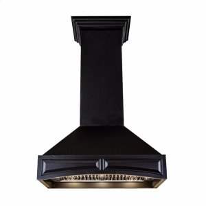 Zline KitchenZLINE 36 in. Wooden Wall Mount Range Hood in Black - Includes 400 CFM Remote Motor (321CC-RS-36-400)