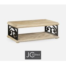 Limed Wood Coffee Table with Wrought Iron Base