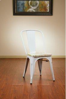 Bristow Metal Chair With Vintage Wood Seat, White Finish Frame & Pine Irish Finish Seat