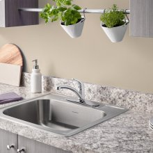Colony 25x22-inch Stainless Steel Kitchen Sink  3 Hole  American Standard - Stainless Steel
