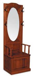 Hall Seat with Oval Beveled Mirror Product Image