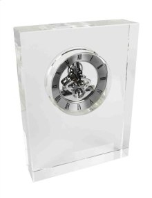 Glass Block Silver Table Clock