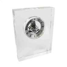 Glass Block Silver Table Clock