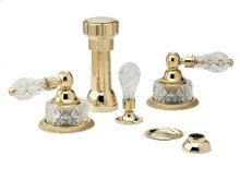 Four Hole Bidet Set Cut Crystal - Polished Brass