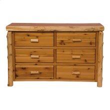 Six Drawer Dresser Natural Cedar, Premium