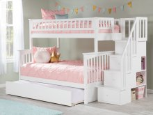 Columbia Staircase Bunk Bed Twin over Full with Urban Trundle Bed in White