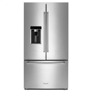 "KITCHENAIDKitchenAid(R) 23.8 cu. ft. 36"" Counter-Depth French Door Platinum Interior Refrigerator - Stainless Steel"