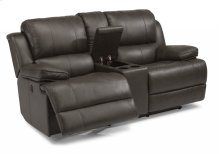 Simon Leather Power Reclining Loveseat with Console
