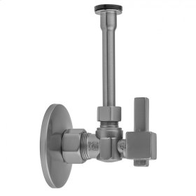 """Satin Brass - Quarter Turn Angle Pattern 5/8"""" O.D. Compression (Fits 1/2"""" Copper) x 3/8"""" O.D. Toilet Supply Kit Square Lever Handle, 12"""" Supply Tube, Escutcheon"""