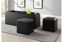 Storage Bench with Two Ottomans