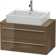 X-large Vanity Unit For Console Compact, Olive Brown High Gloss Lacquer
