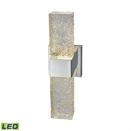 Cubic Ice 1-Light Wall Lamp in Chrome with Textured Glass - Integrated LED