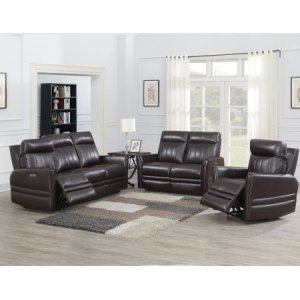 Steve Silver Co.Coachella 3 Piece Dual Power Leather Motion Set(Sofa, Loveseat & Chair)