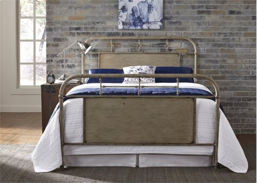 King Metal Bed - Vintage White