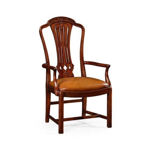 Mahogany Pierced Splat Back Armchair with Medium Antique Chestnut Leather