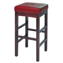 Valencia Backless Leather Bar Stool, Red