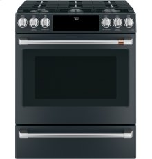 """Café 30"""" Slide-In Front Control Gas Oven with Convection Range with Warming Drawer"""