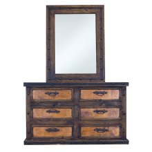 "Dresser : 61"" x 36"" x 18 - Mirror : 37"" x 48"" x 2"" ""Finca"" with copper panels"