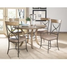 Charleston 5pc Round Dining With X Back Chairs All Wood Table With Metal Ring