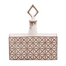 Rectangular Ceramic with Geometric Design Jar, Small