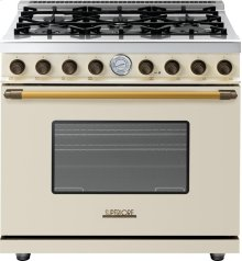 Range DECO 36'' Classic Cream matte, Bronze 6 gas, gas oven