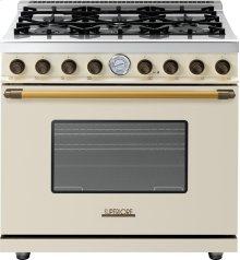 Range DECO 36'' Classic Cream matte, Bronze 6 gas, gas oven