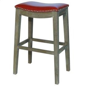 Elmo Bonded Leather Bar Stool Mystique Gray Frame, Red