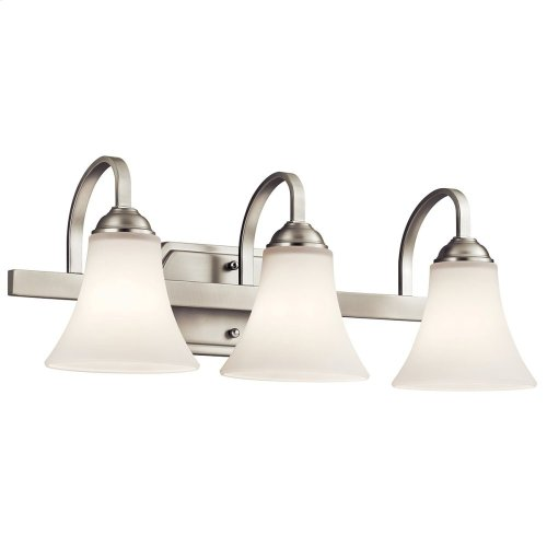 Keiran 3 Light Vanity Light with LED Bulbs Brushed Nickel
