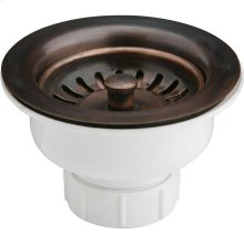 """Elkay 3-1/2"""" Drain Fitting Antique Copper Finish Body and Basket with Rubber Stopper"""