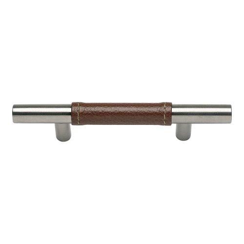Zanzibar Brown Leather Pull 3 Inch (c-c) - Stainless Steel