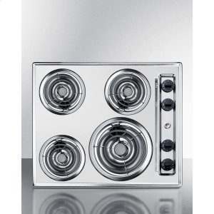 "Summit24"" Wide 220v Electric Cooktop In Chrome With 4 Coil Elements"