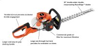 "High-performing 20"" hedge trimmer."