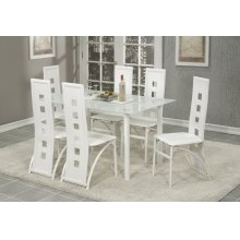 7 Pc. White Contemporary Dining Set