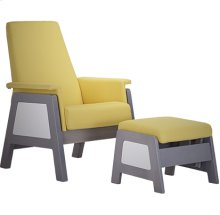 Urban style glider with thick seatback and square armrests.