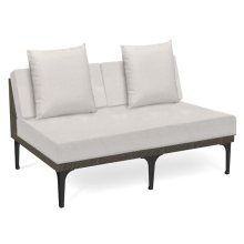 "55"" Dark Grey Rattan Two-Seat Centre Sofa Sectional, Upholstered in COM"