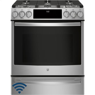 """GE Profile 30"""" Gas Slide-In Front Control Convection Range with Storage Drawer Stainless Steel PCGS930SELSS"""