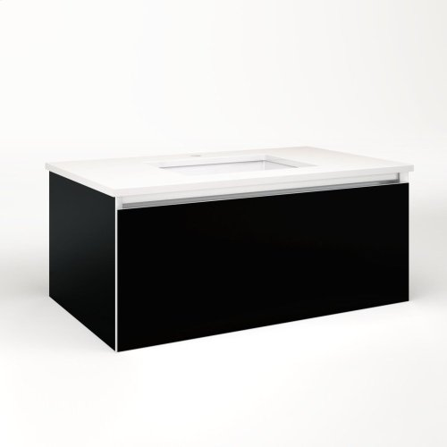 """Cartesian 36-1/8"""" X 15"""" X 21-3/4"""" Single Drawer Vanity In Black With Slow-close Plumbing Drawer and Night Light In 5000k Temperature (cool Light)"""