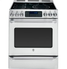 """GE Cafe™ Series 30"""" Slide-In Front Control Convection Range with Baking Drawer"""
