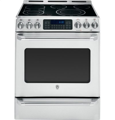 """GE Cafe™ Series 30"""" Slide-In Front Control Convection Range with Baking Drawer Product Image"""