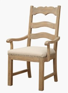 Emerald Home Barcelona Ladderback Host Chair Natural With Linen Upholstery D551-23