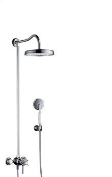 Chrome Showerpipe with thermostat and overhead shower 1jet