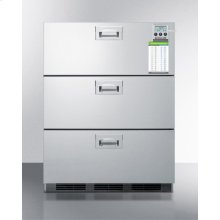 Commercially Approved Three-drawer Refrigerator In Stainless Steel for Built-in Use, With Temperature Alarm, Hospital Grade Cord, and Internal Fan
